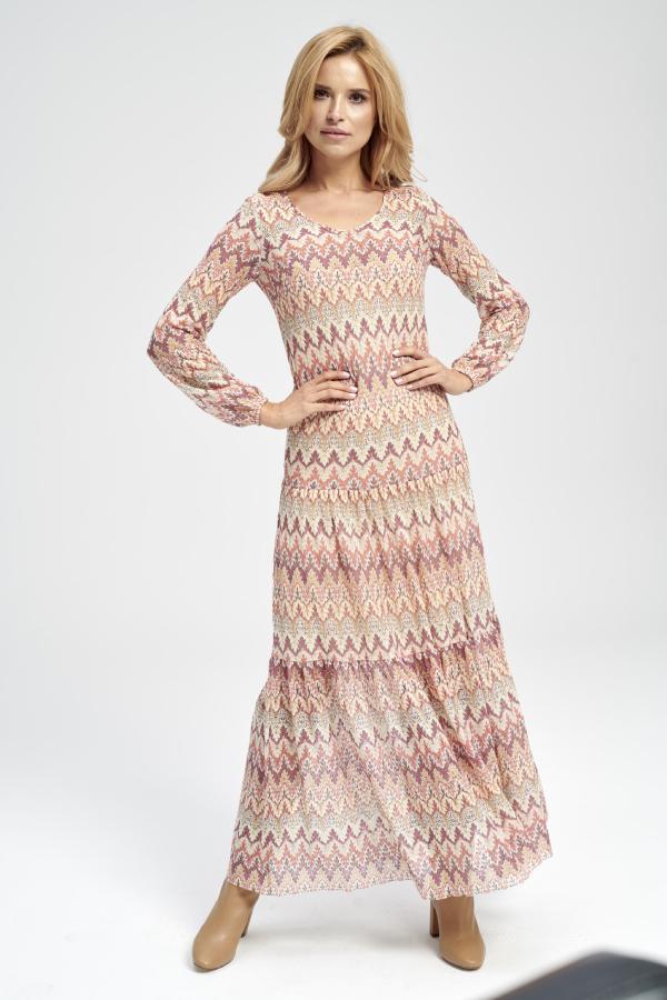 sukienka maxi koronkowa z dlugim rękawem