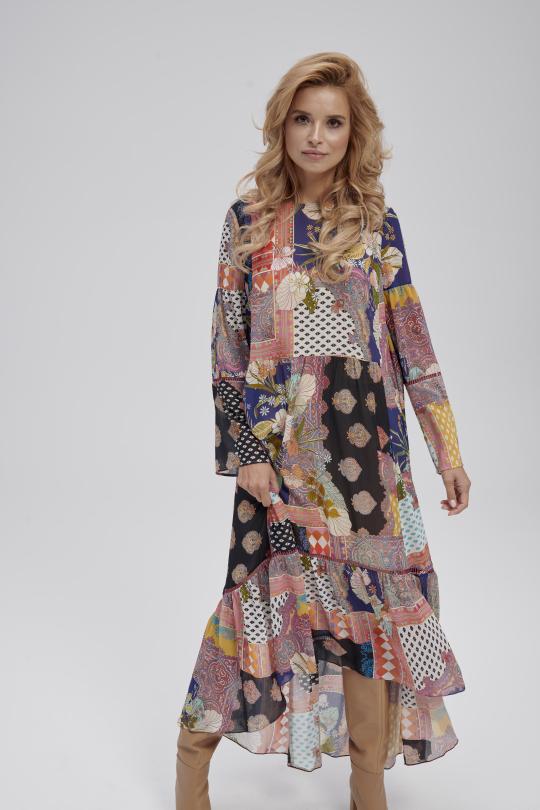 zwiewna sukienka we wzory boho