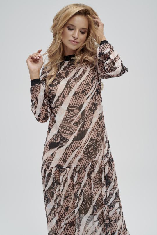 zwiewna sukienka maxi z nadrukiem i długim rękawem