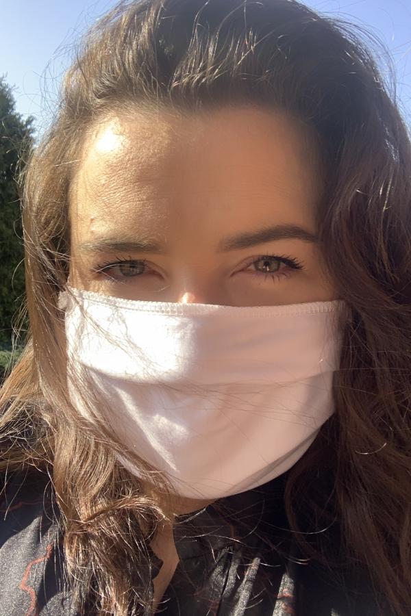Biała maska wielorazowa z bawełny
