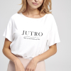 t-shirt biały damski z napisem JUTRO