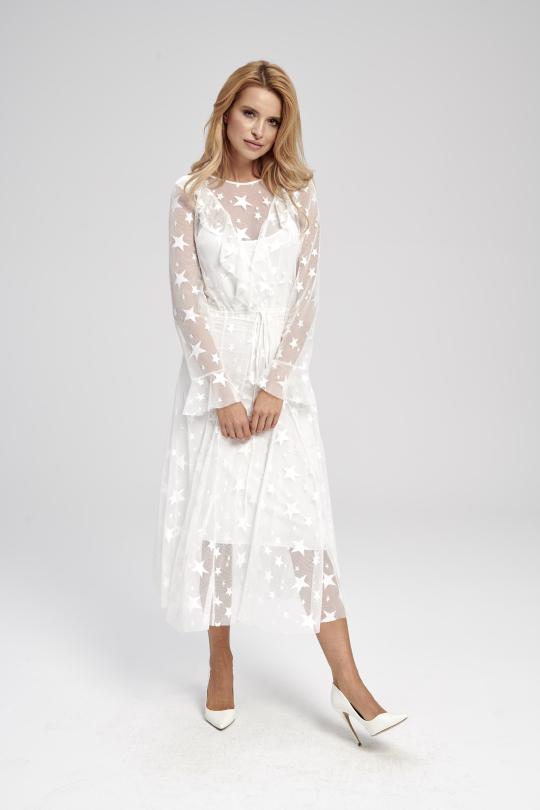biała sukienka w gwiazdki