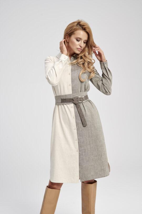 Lniana dwu-kolorowa sukienka