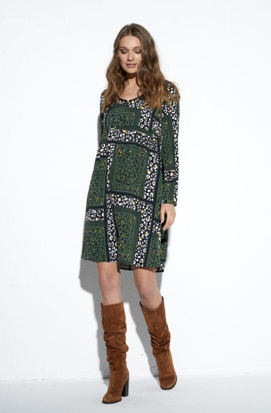 zielona sukienka w panterę