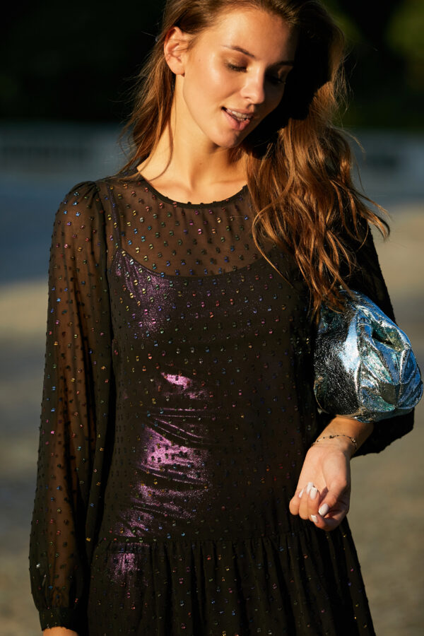 Czarna sukienka plumetti