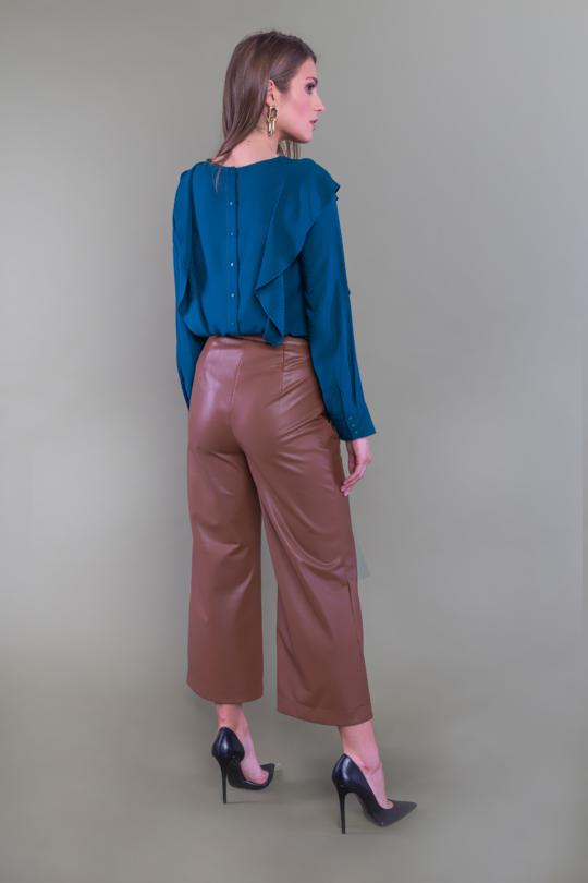 brązowe spodnie culotty